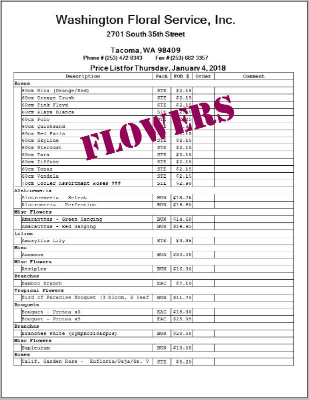 Tacoma Flower List